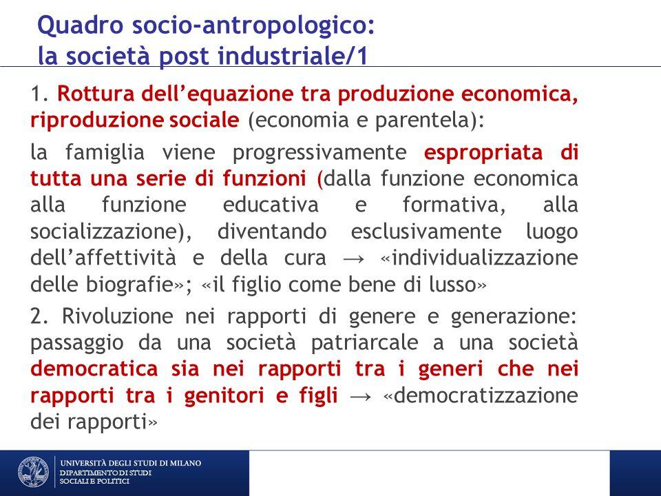 Quadro socio-antropologico: la società post industriale/1