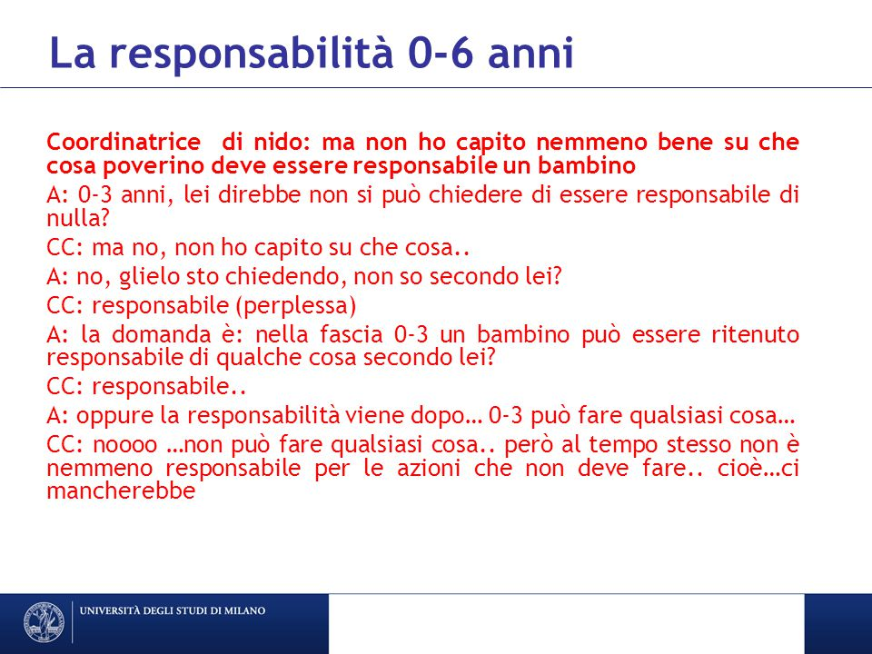 La responsabilità 0-6 anni