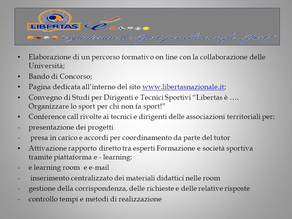 Elaborazione di un percorso formativo on line con la collaborazione delle Università;