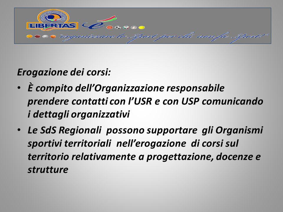 Erogazione dei corsi: È compito dell'Organizzazione responsabile prendere contatti con l'USR e con USP comunicando i dettagli organizzativi.