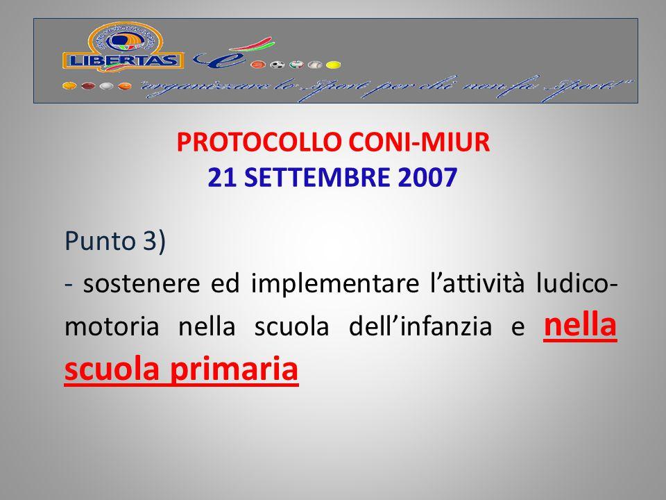 PROTOCOLLO CONI-MIUR 21 SETTEMBRE 2007