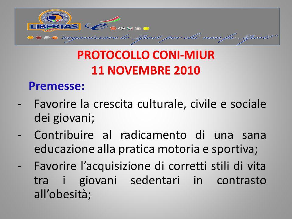 PROTOCOLLO CONI-MIUR 11 NOVEMBRE 2010
