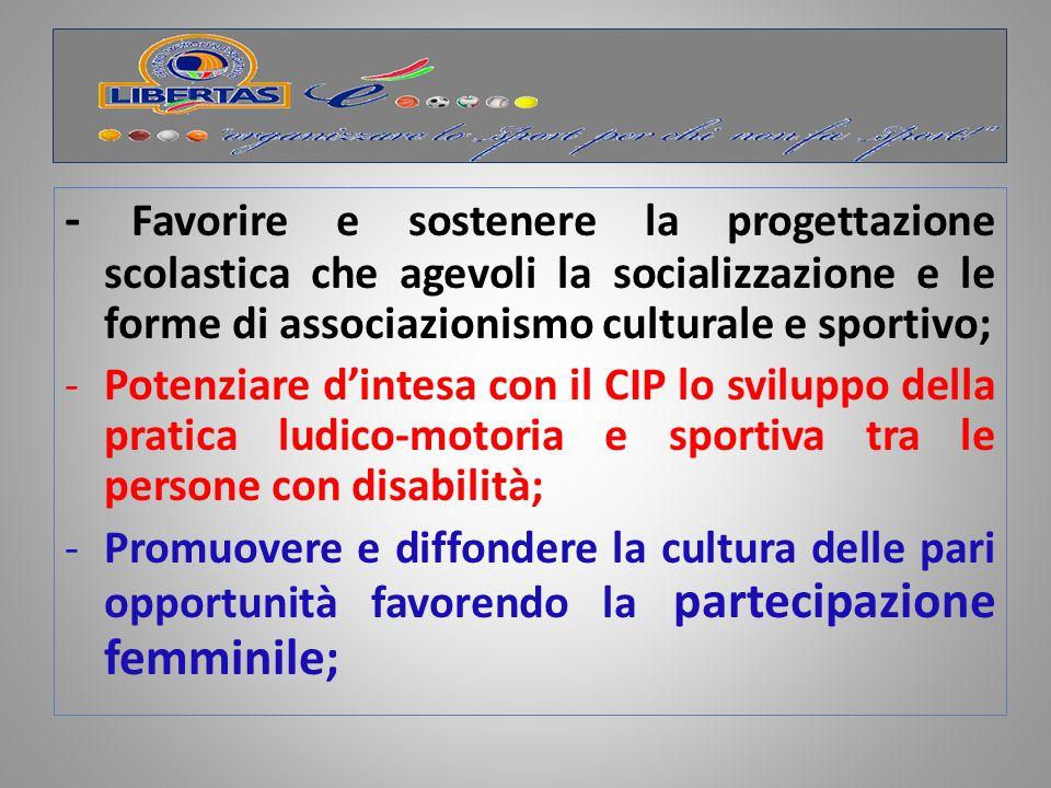 - Favorire e sostenere la progettazione scolastica che agevoli la socializzazione e le forme di associazionismo culturale e sportivo;