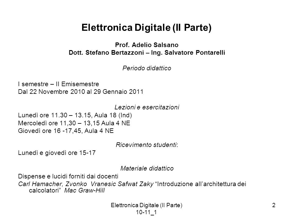 Elettronica Digitale (II Parte)
