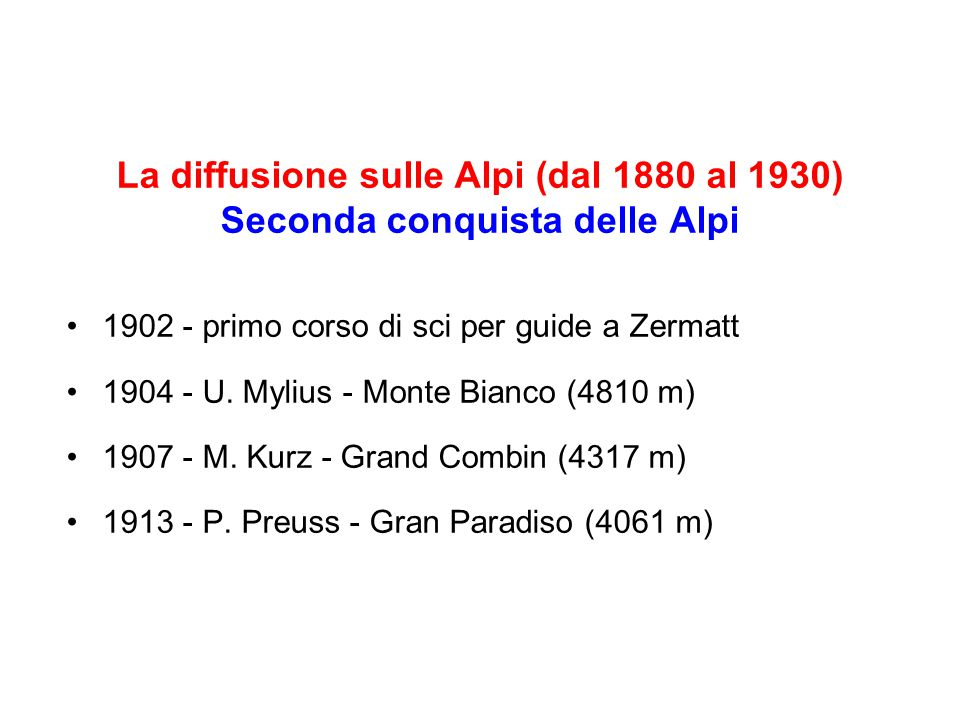 La diffusione sulle Alpi (dal 1880 al 1930)