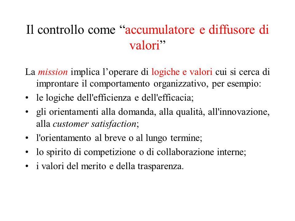 Il controllo come accumulatore e diffusore di valori
