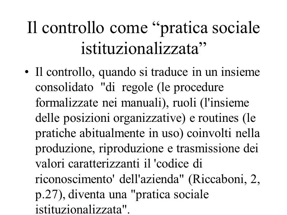 Il controllo come pratica sociale istituzionalizzata