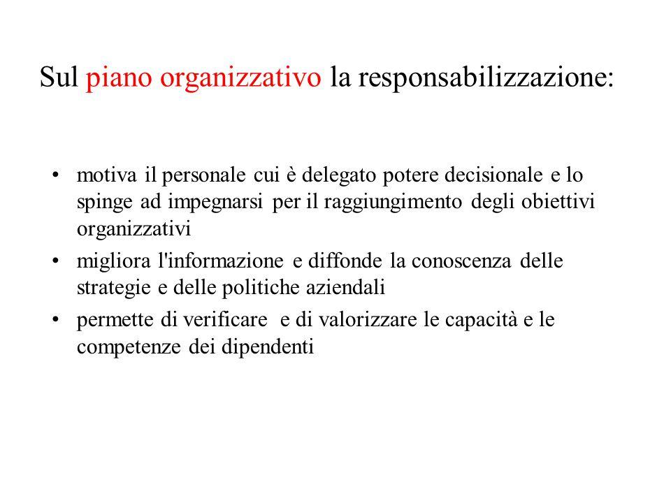 Sul piano organizzativo la responsabilizzazione: