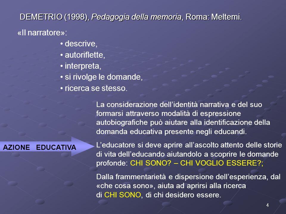 DEMETRIO (1998), Pedagogia della memoria, Roma: Meltemi.