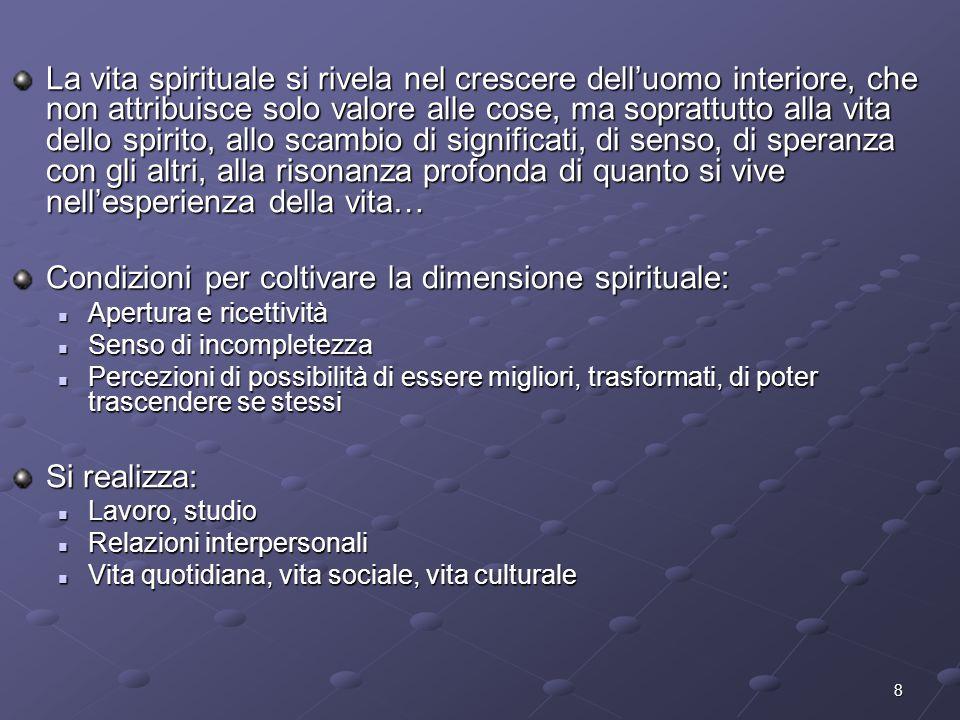 Condizioni per coltivare la dimensione spirituale: