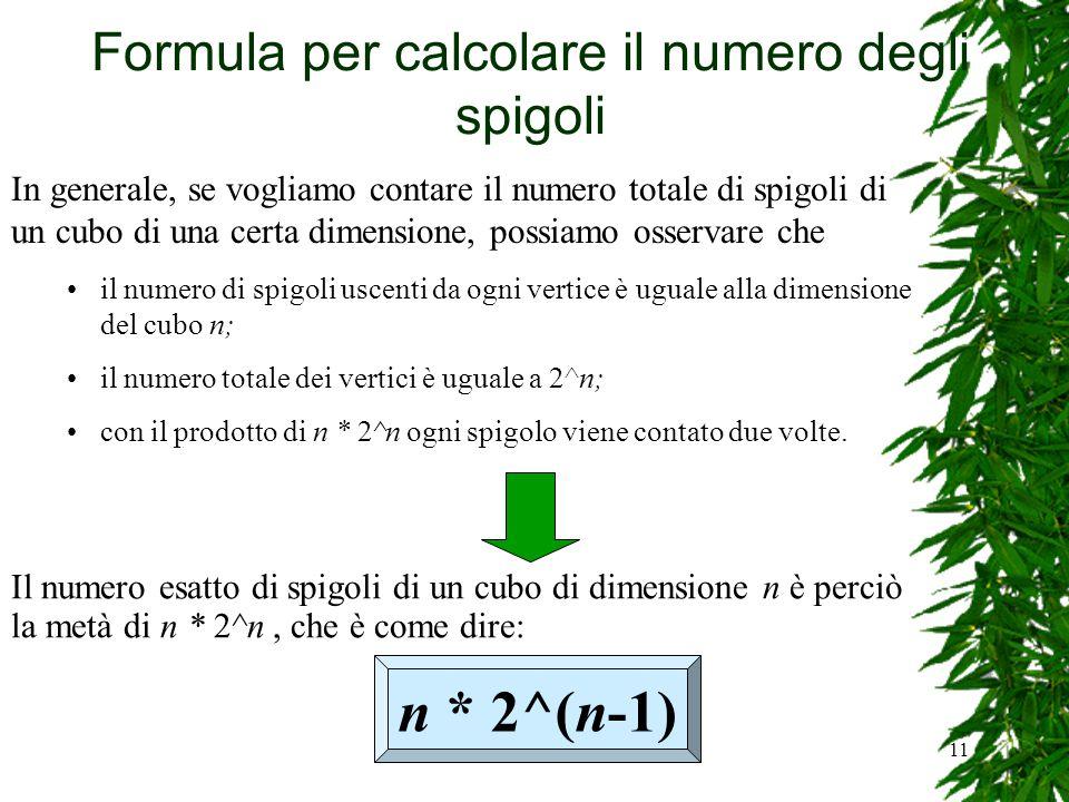 Formula per calcolare il numero degli spigoli
