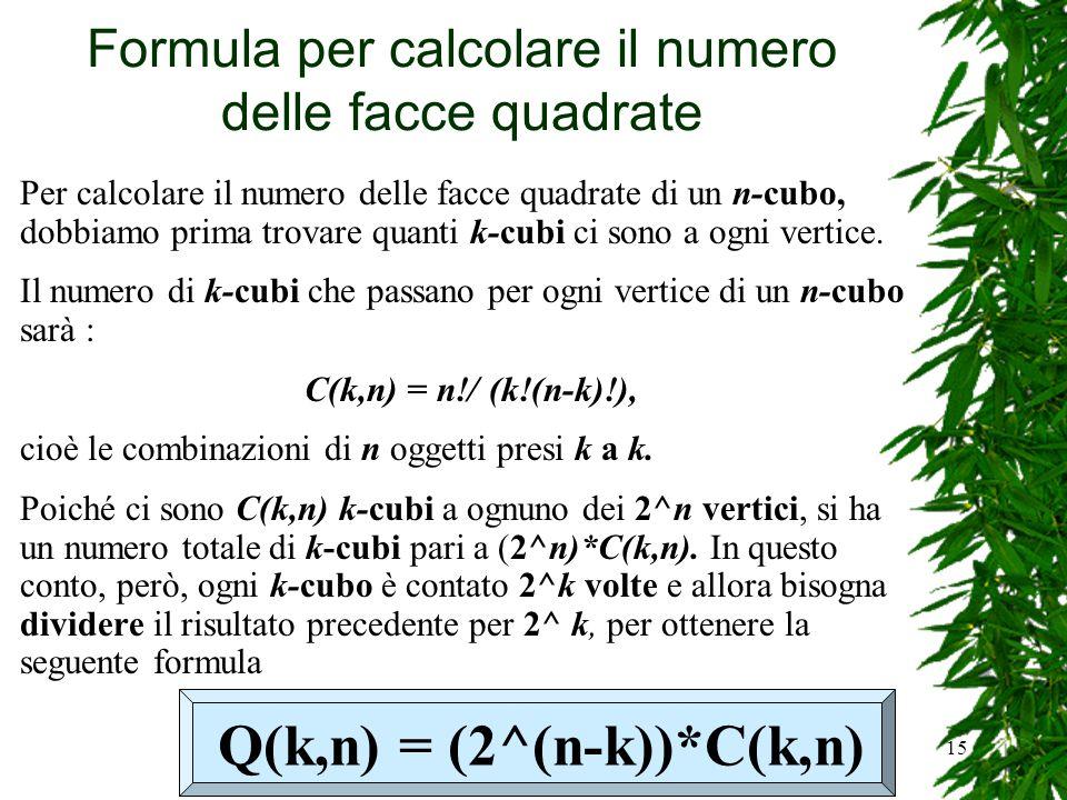 Formula per calcolare il numero delle facce quadrate