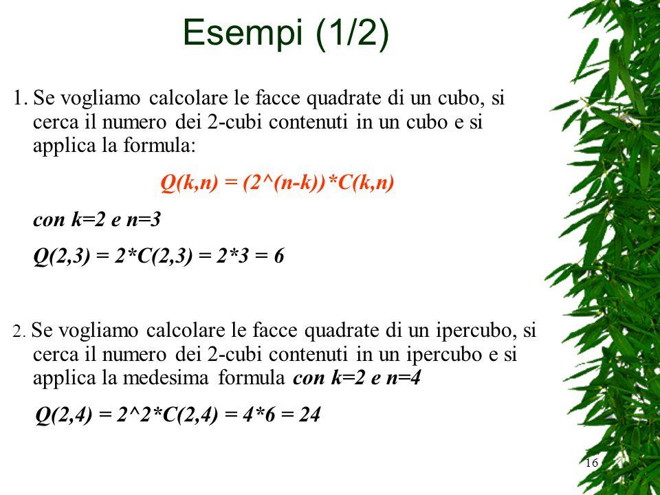 Q(k,n) = (2^(n-k))*C(k,n)