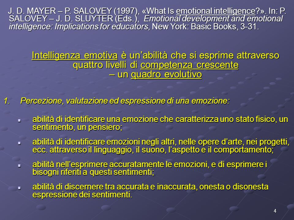 J. D. MAYER – P. SALOVEY (1997), «What Is emotional intelligence. »