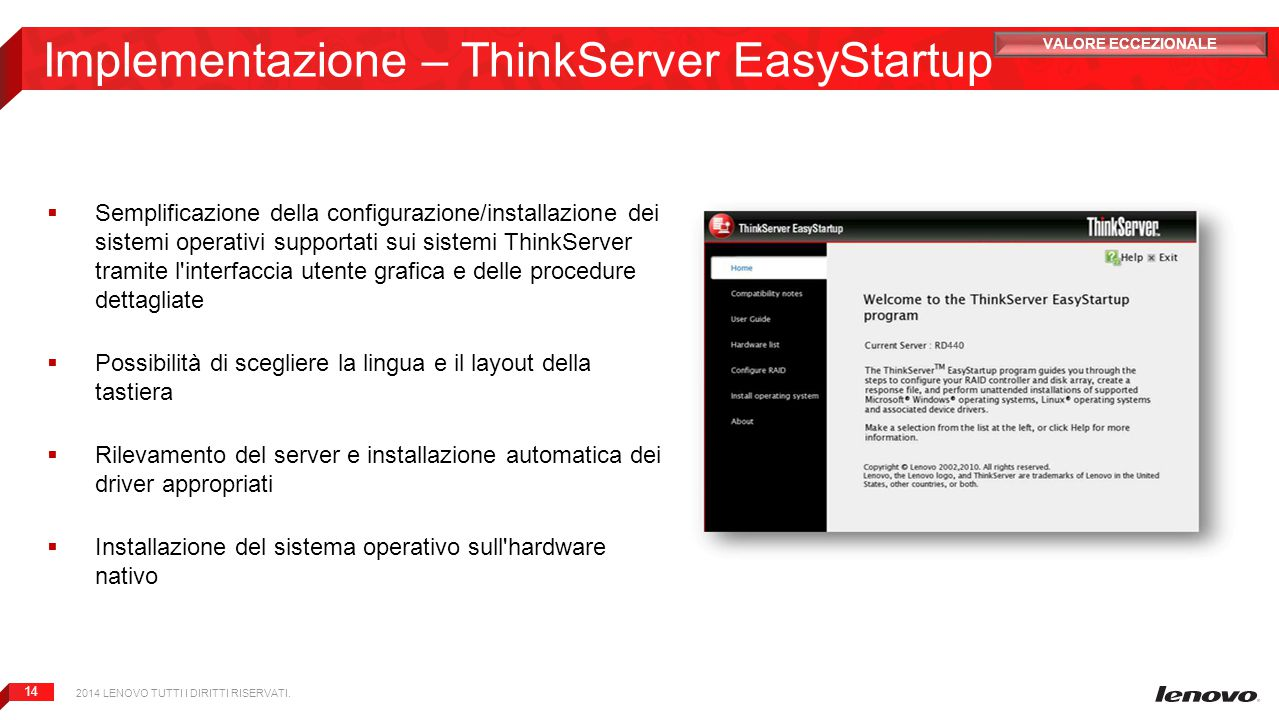 Implementazione – ThinkServer EasyStartup
