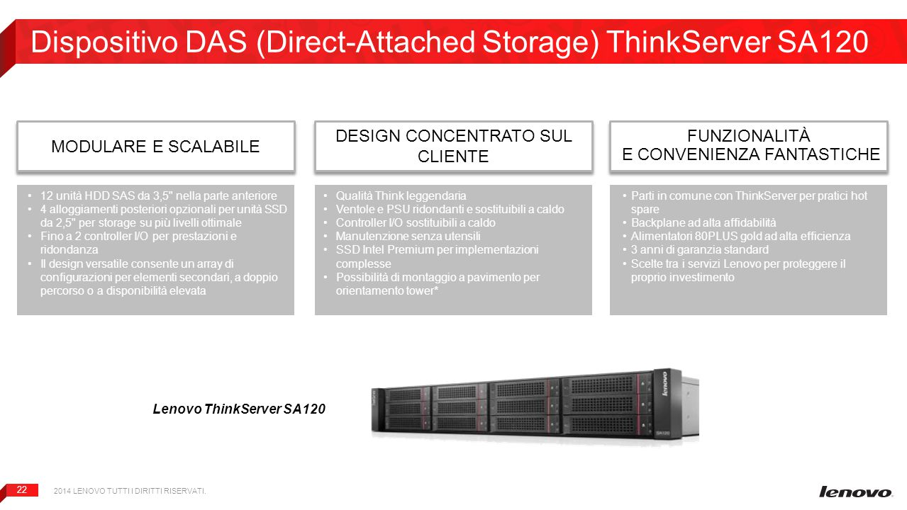 Dispositivo DAS (Direct-Attached Storage) ThinkServer SA120