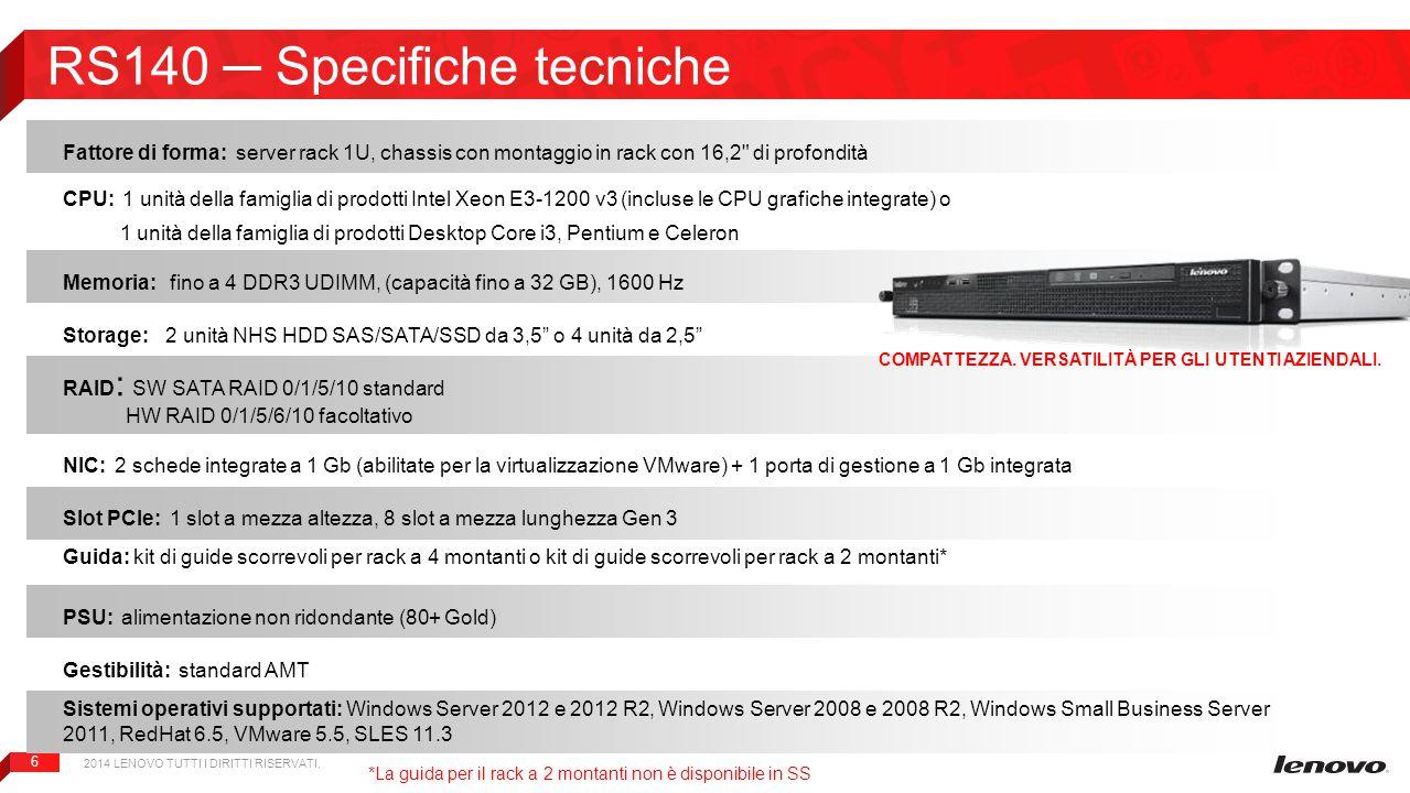RS140 ─ Specifiche tecniche