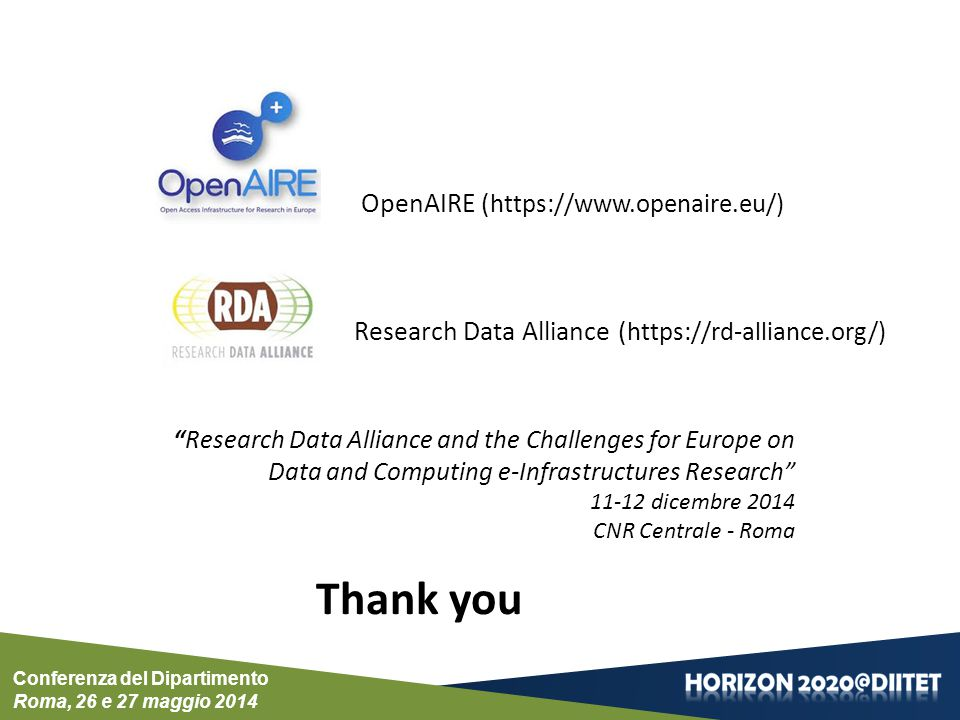 Thank you OpenAIRE (https://www.openaire.eu/)