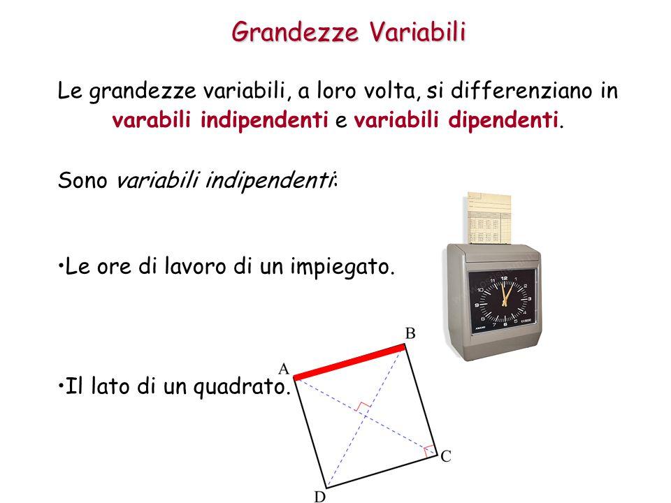 Grandezze Variabili Le grandezze variabili, a loro volta, si differenziano in varabili indipendenti e variabili dipendenti.