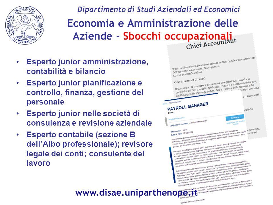 Economia e Amministrazione delle Aziende - Sbocchi occupazionali