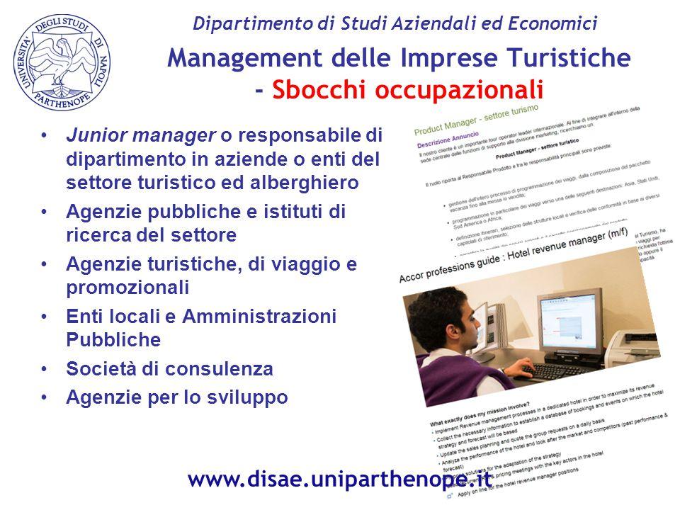 Management delle Imprese Turistiche - Sbocchi occupazionali