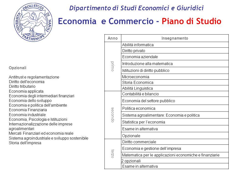 Economia e Commercio - Piano di Studio