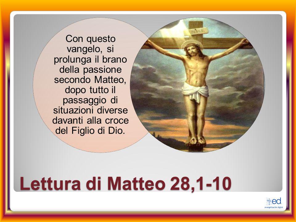 Con questo vangelo, si prolunga il brano della passione secondo Matteo, dopo tutto il passaggio di situazioni diverse davanti alla croce del Figlio di Dio.