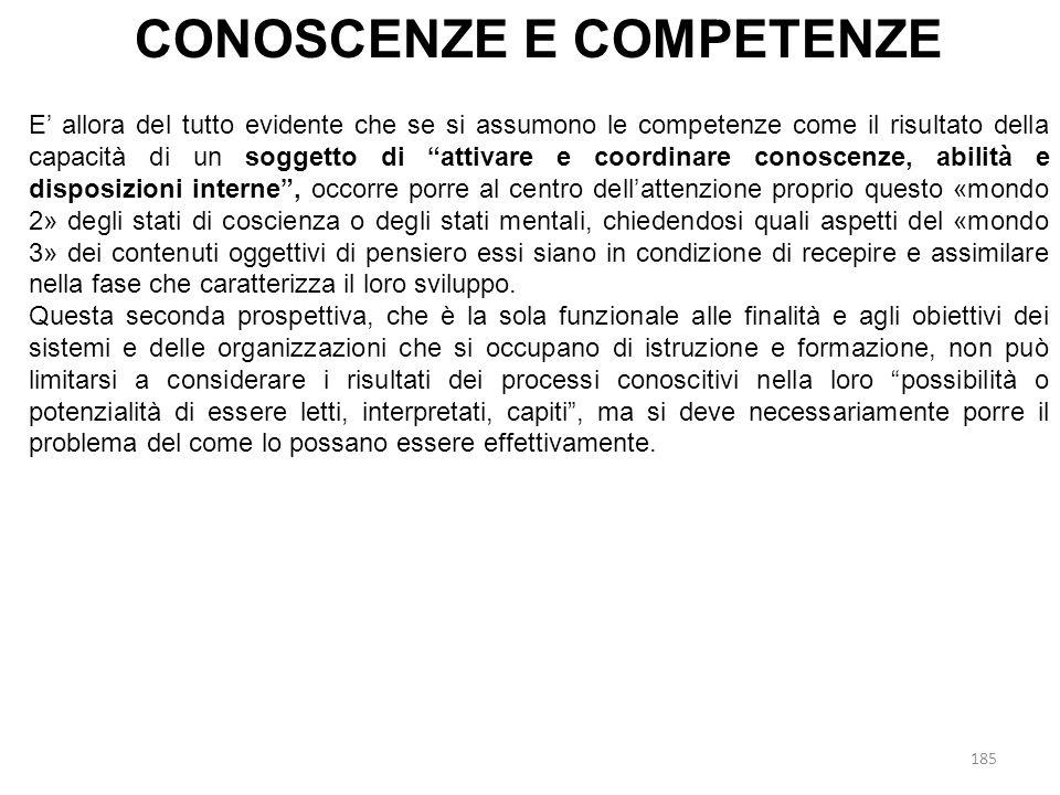 CONOSCENZE E COMPETENZE