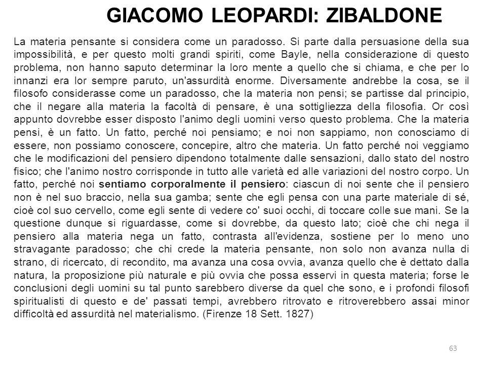 GIACOMO LEOPARDI: ZIBALDONE