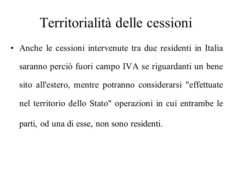Territorialità delle cessioni