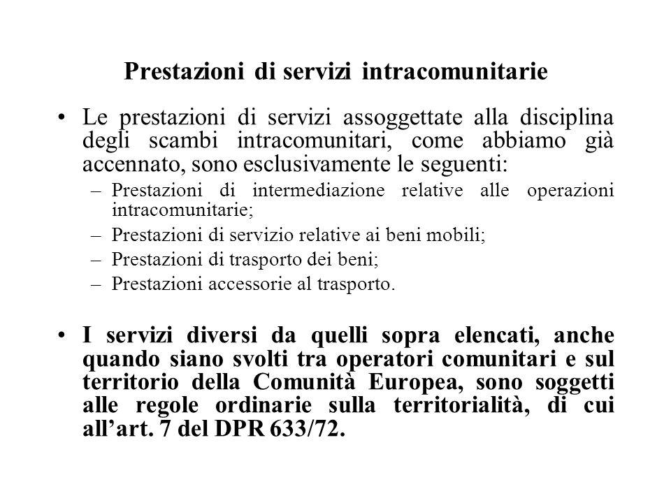 Prestazioni di servizi intracomunitarie