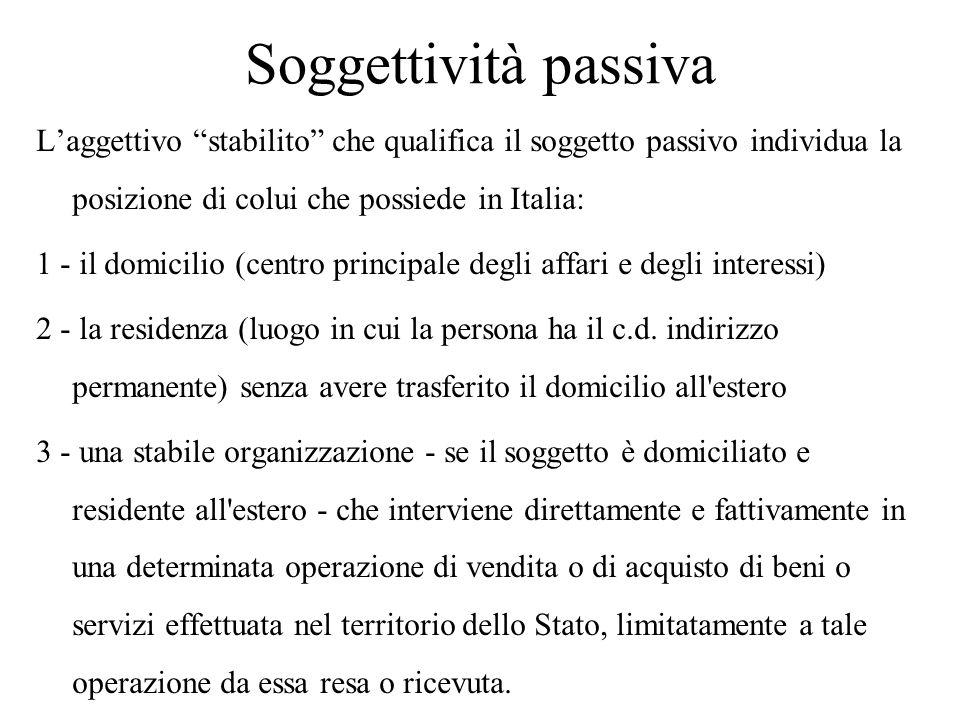 Soggettività passiva L'aggettivo stabilito che qualifica il soggetto passivo individua la posizione di colui che possiede in Italia: