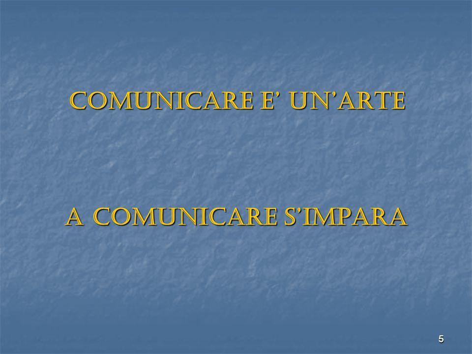 COMUNICARE E' UN'ARTE A COMUNICARE S'IMPARA
