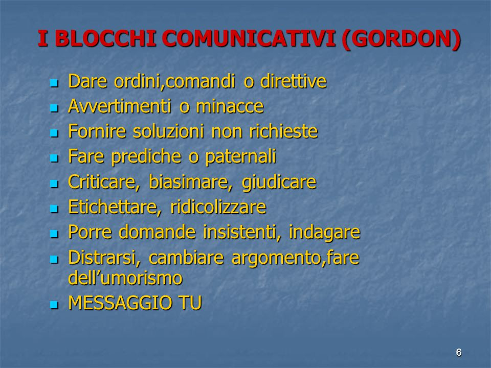 I BLOCCHI COMUNICATIVI (GORDON)