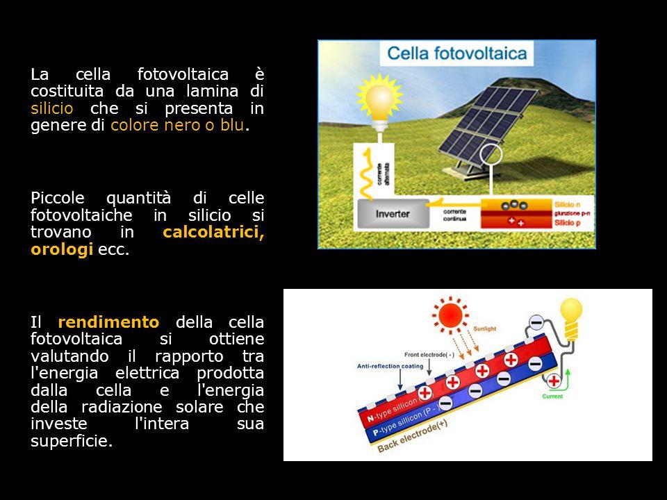 1111 La cella fotovoltaica è costituita da una lamina di silicio che si presenta in genere di colore nero o blu.