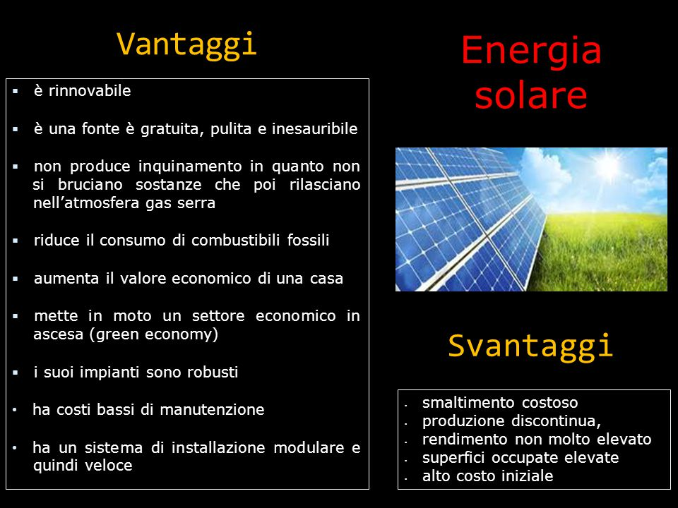 Energia solare Vantaggi Svantaggi è rinnovabile