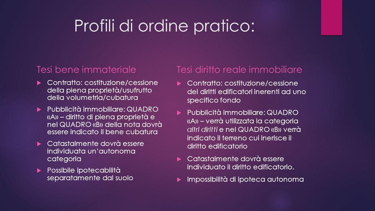 Profili di ordine pratico: