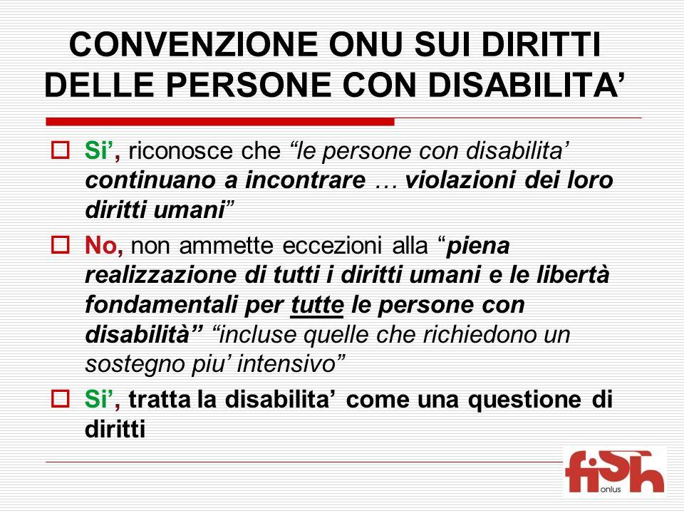 CONVENZIONE ONU SUI DIRITTI DELLE PERSONE CON DISABILITA'