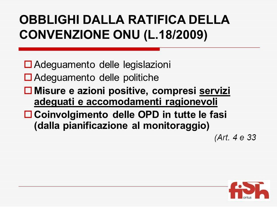 OBBLIGHI DALLA RATIFICA DELLA CONVENZIONE ONU (L.18/2009)
