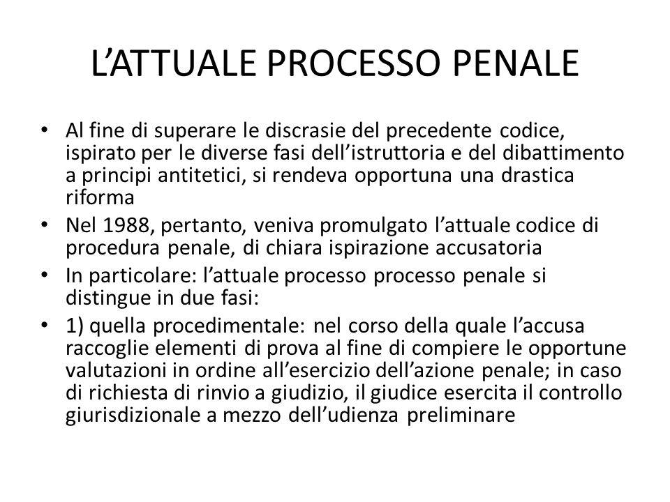 L'ATTUALE PROCESSO PENALE
