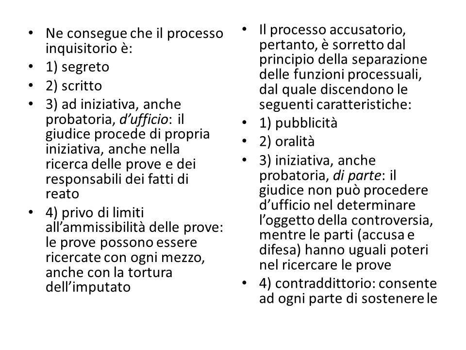 Il processo accusatorio, pertanto, è sorretto dal principio della separazione delle funzioni processuali, dal quale discendono le seguenti caratteristiche: