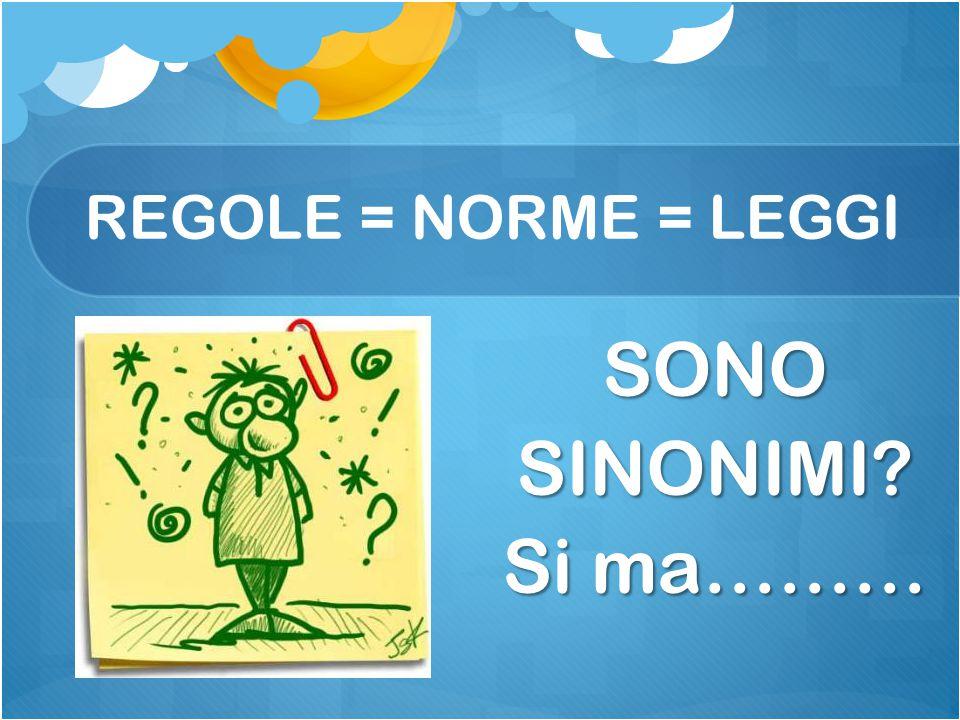 REGOLE = NORME = LEGGI SONO SINONIMI Si ma………