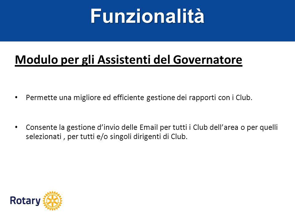 Funzionalità Modulo per gli Assistenti del Governatore
