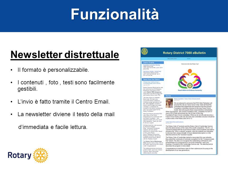 Funzionalità Newsletter distrettuale Il formato è personalizzabile.