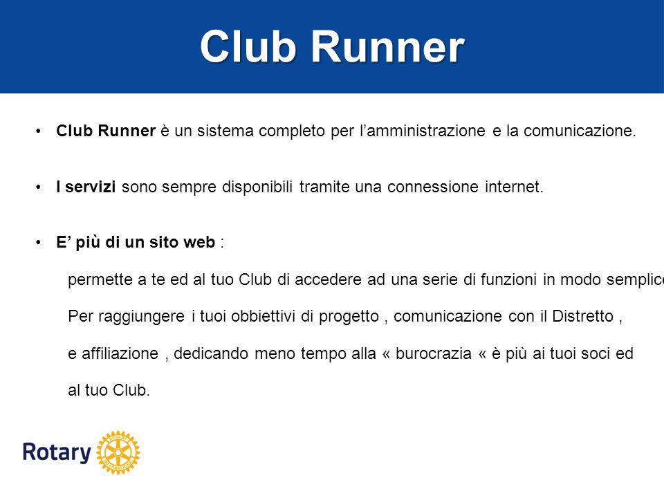 Club Runner Club Runner è un sistema completo per l'amministrazione e la comunicazione.