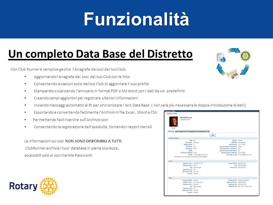 Funzionalità Un completo Data Base del Distretto