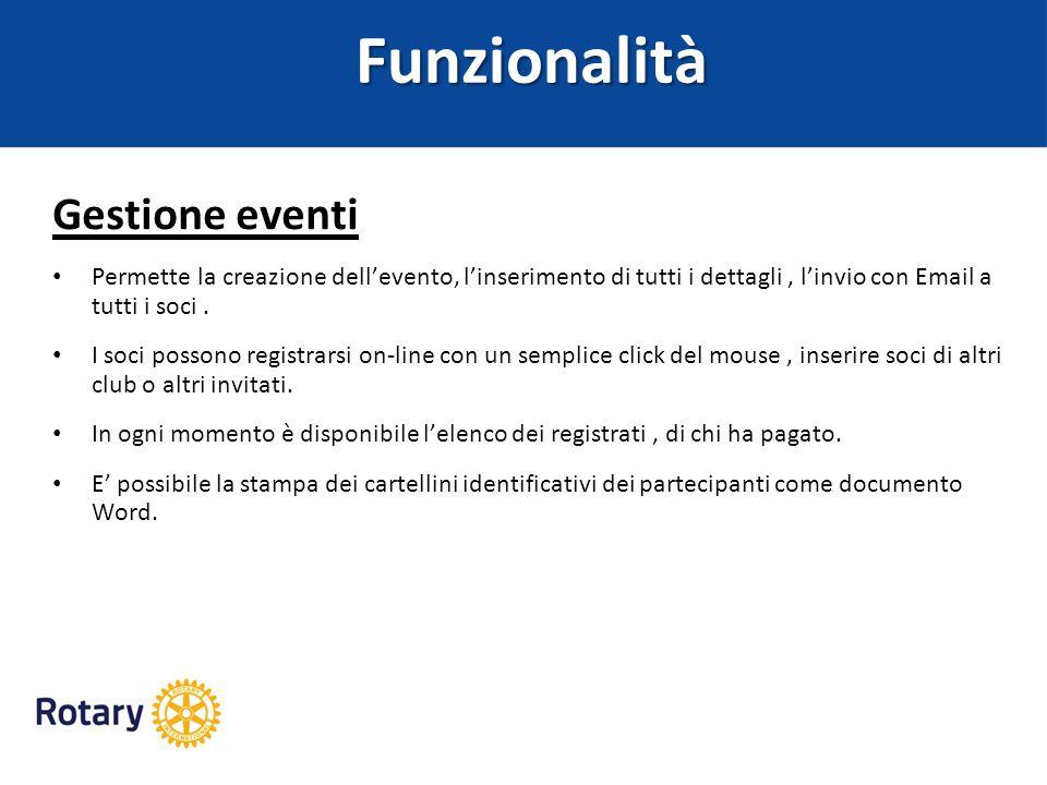Funzionalità Gestione eventi