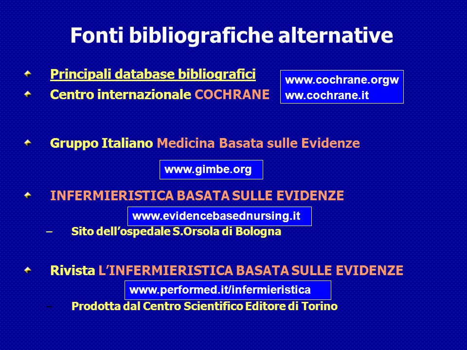 Fonti bibliografiche alternative