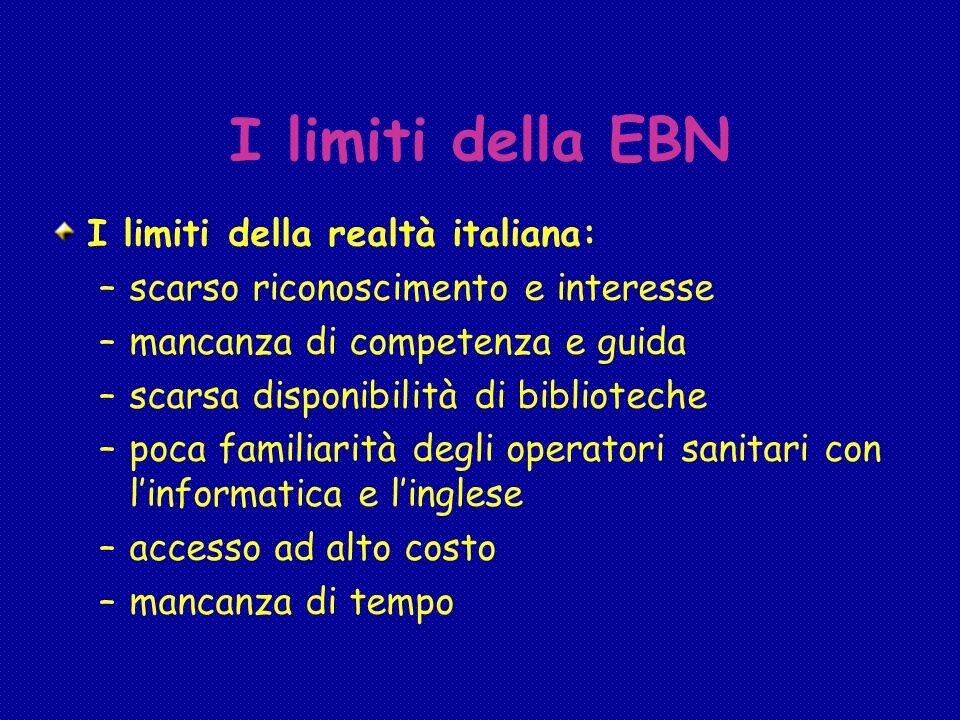 I limiti della EBN I limiti della realtà italiana: