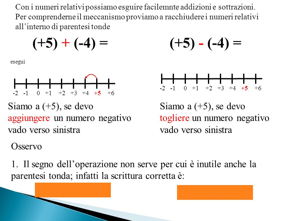 Con i numeri relativi possiamo esguire facilemnte addizioni e sottrazioni. Per comprenderne il meccanismo proviamo a racchiudere i numeri relativi all'interno di parentesi tonde